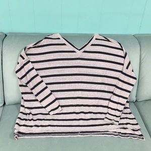 EXPRESS ONE ELEVEN DOUBLE V-NECK STRIPED TOP
